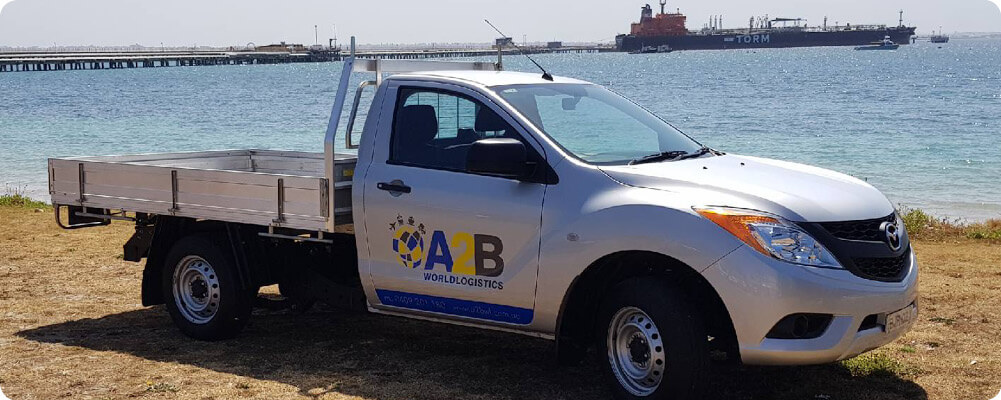 A2B World Logistics ute with logo